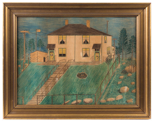 Antique Canadian Folk Art House Portrait, Crayon and Waterolor, Circa 1900, entire view