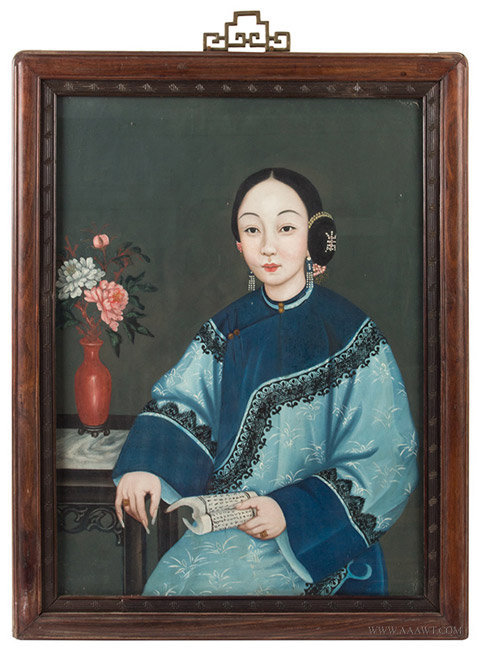 Antique Opaque Watercolor Painting of Chinese Courtesan Lady, Circa 1850, entire view