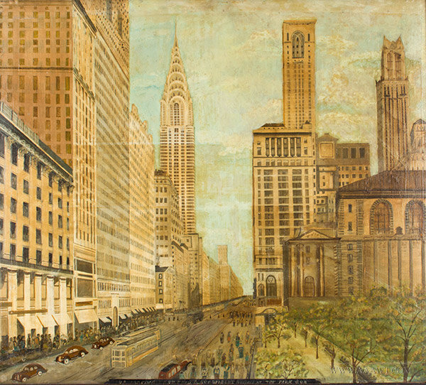 Painting, Chrysler Building, New York City, Oak Frame Anonymous, Early 20th Century, entire view