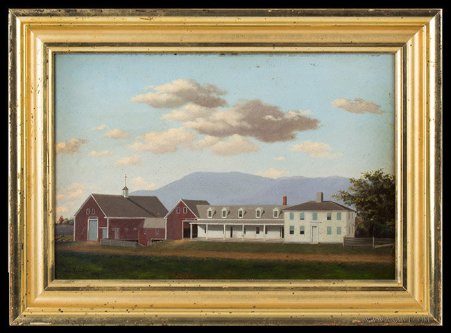 Antique Folk Painting of Cotton Elliot Farmstead, Maine, Signed J.S. Record, entire view