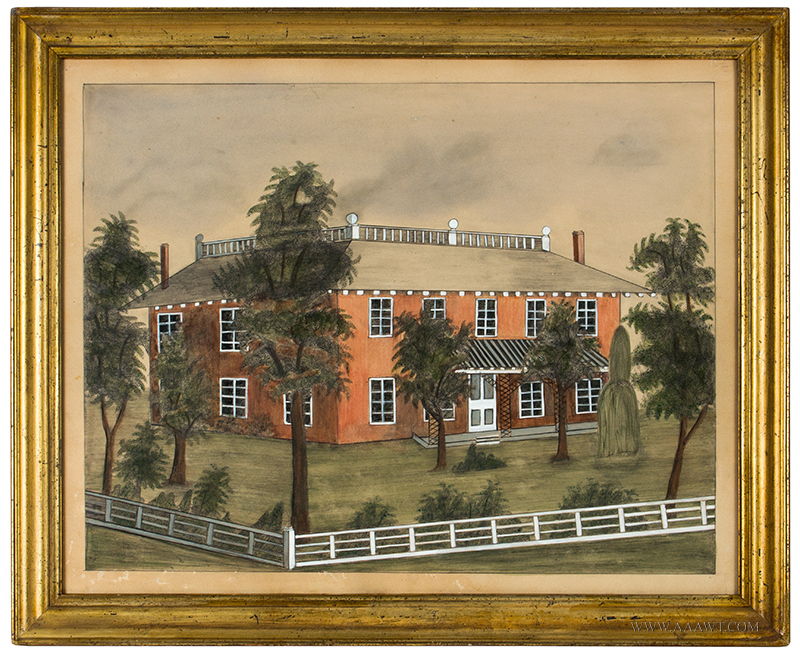 American School House Portrait Within Landscape