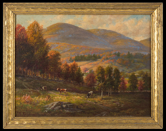Antique Painting of Willow Valley, New York, Signed J.B. Kotzbauer, Early 20th Century, entire view
