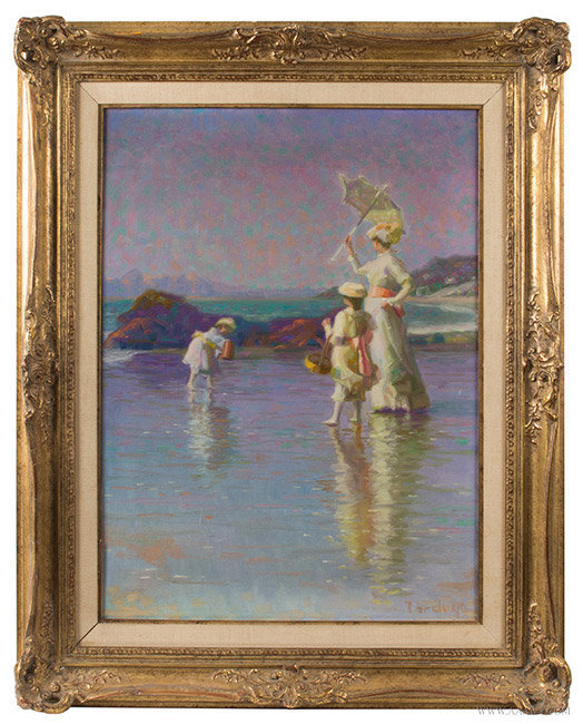 Impressionist Painting of Victorian Beach Stroll, Oil on Canvas, Signed James Verdugo, entire view