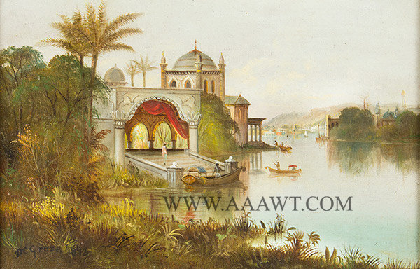Painting, Daniel Charles Grose (1838 to 1900)  Orientalist View of an Indian Palace with Shipping and Distant Hills  Oil on canvas (Frame: 18 by 14''; view: 11.5 by 7.5''), entire view