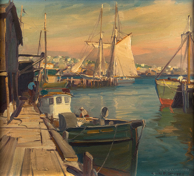 Antique Marine Painting of Gloucester Harbor, Signed Emile Gruppe, close up view