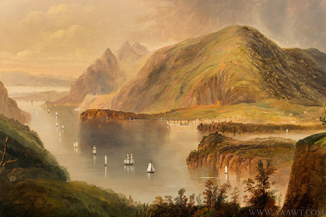 Antique Painting of Fort Putnam and the Hudson River, By Edmun C. Coates, close up detail