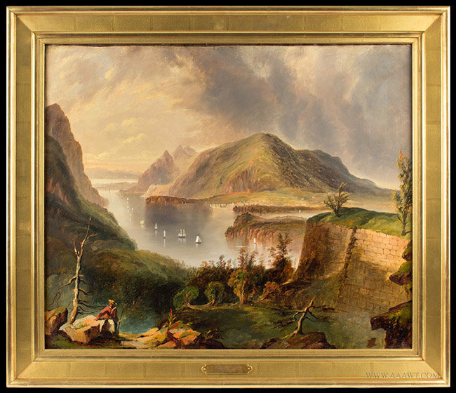 Antique Painting of Fort Putnam and the Hudson River, By Edmun C. Coates, entire view
