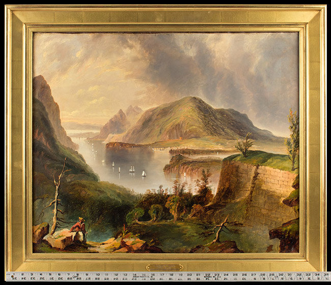 Antique Painting of Fort Putnam and the Hudson River, By Edmun C. Coates, with ruler for scale
