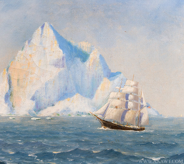 Antique Maritime Painting with Iceberg by Alfred Needham, Signed 1921, close up view