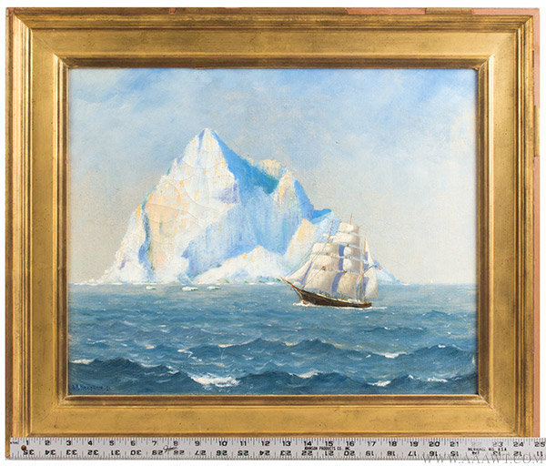 Antique Maritime Painting with Iceberg by Alfred Needham, Signed 1921, with ruler for scale