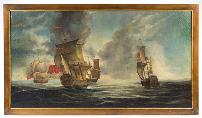 Antique Provincial Marine Overmantle Painting, Unknown Artist, 19th Century, entire view