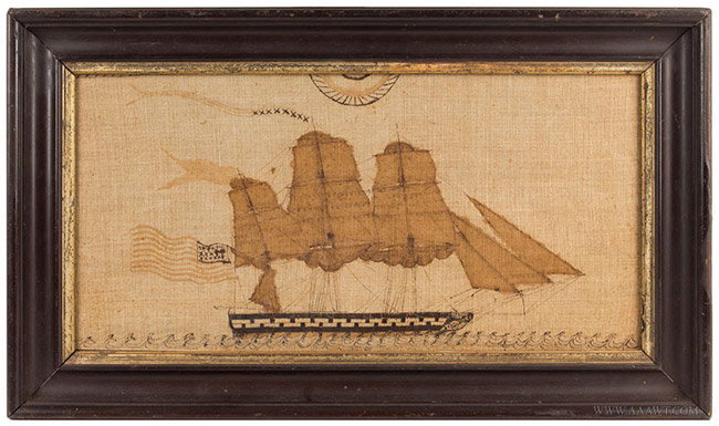 Antique Painting on Linen of a Ship Flying the American Flag, Circa 1870, entire view