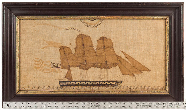 Antique Painting on Linen of a Ship Flying the American Flag, Circa 1870, with ruler for scale