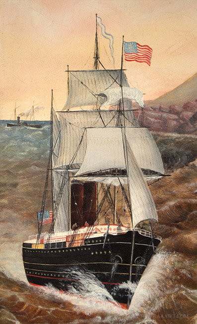 Antique Coastal New England Seascape Painting attributed to Jurgan Frederick Huge, Circa 1870, ship detail