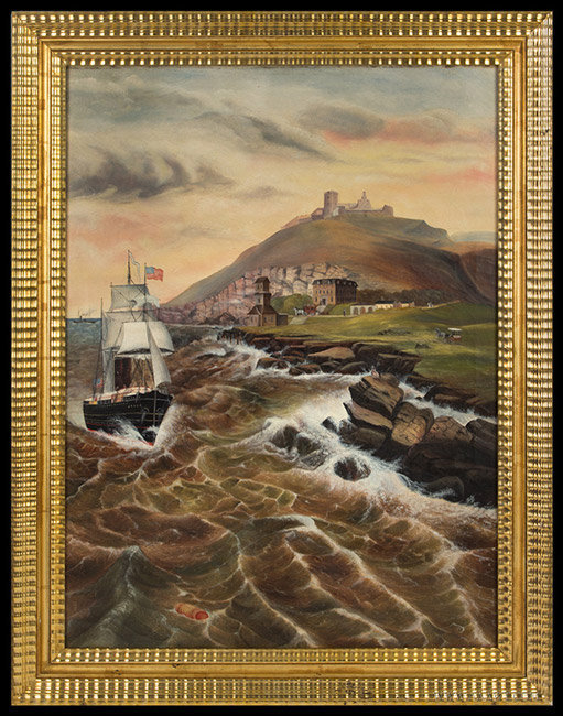Antique Coastal New England Seascape Painting attributed to Jurgan Frederick Huge, Circa 1870, entire view