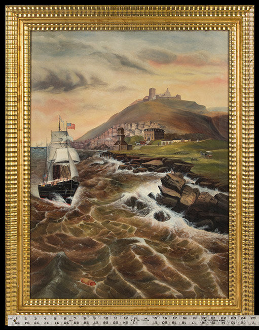 Antique Coastal New England Seascape Painting attributed to Jurgan Frederick Huge, Circa 1870, with ruler for scale