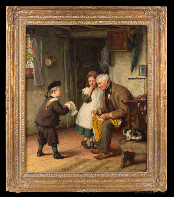 Antique Genre Scene Painting, Showing Drawing to Grandpa, by James Clarke Waite, entire view