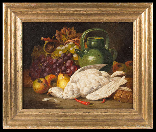 Antique Still Life Painting of Fruits and Game, Signed Charles Bale, Circa 1870, entire view