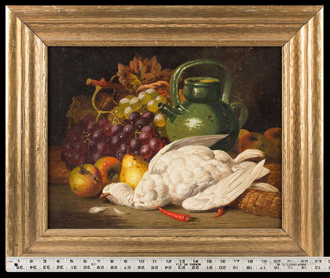 Antique Still Life Painting of Fruits and Game, Signed Charles Bale, Circa 1870, with ruler for scale