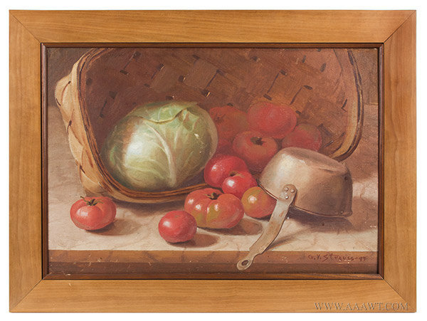 Antique Still Life Painting of a Basket of Cabbage, Signed G.V. Strauss, entire view