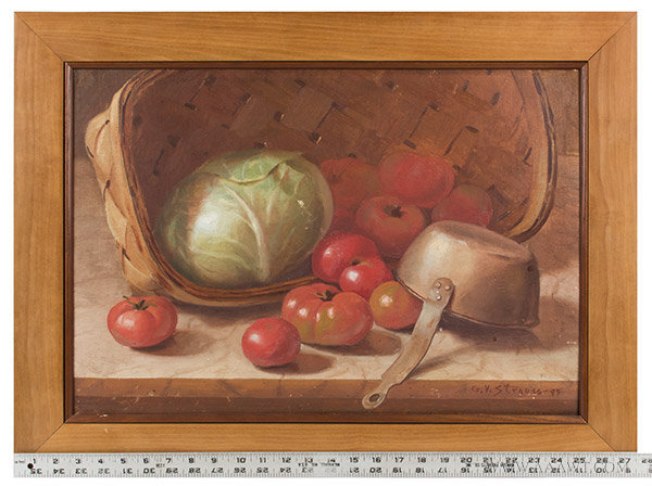 Antique Still Life Painting of a Basket of Cabbage, Signed G.V. Strauss, with ruler for scale