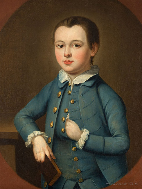Antique Portrait of a Boy in Blue, Anonymous, Circa 1750, close up view