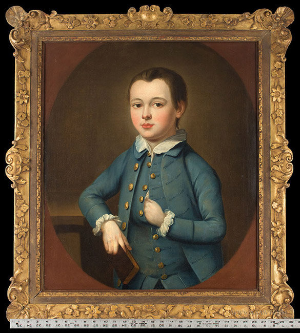Antique Portrait of a Boy in Blue, Anonymous, Circa 1750, with ruler for scale