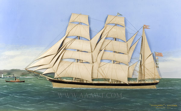 Fabric and Oil Painting on Canvas, Schooner 'Cassandra' Thomas Willis (1850 to 1912), entire view
