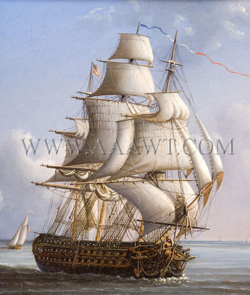 Ship Painting, French Ship Captured by American Navy Oil on Canvas Early 19th Century, entire view