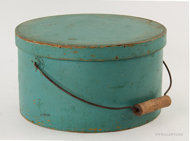 Antique Bail Handled Pantry Box in Old Paint, 19th Century, angle view