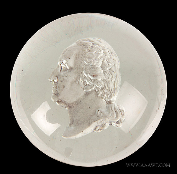 Antique Paperweight with Sulfide of George Washington, entire view