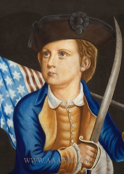 Crayon Portrait, Young Boy in Colonial Dress Holding Flag, Sword, Tricorn Hat  Nineteenth Century  Anonymous, entire view