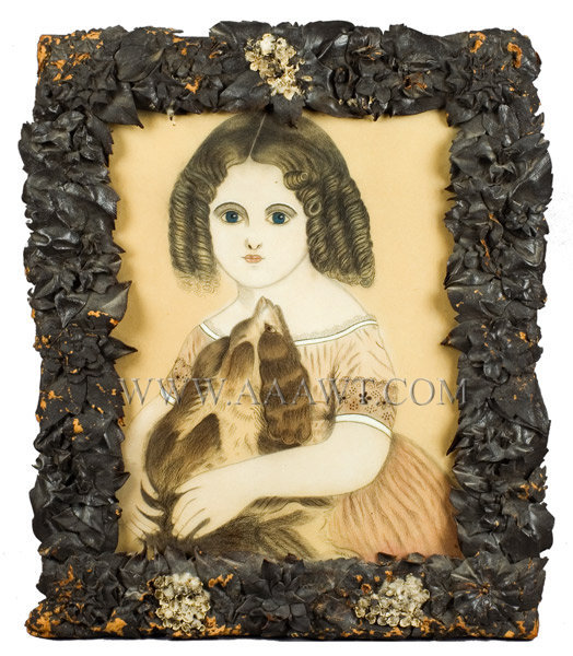 Folk Art Portrait, Little Girl with Dog, Pastel Crayon, Leather Frame  American School  19th Century, entire view