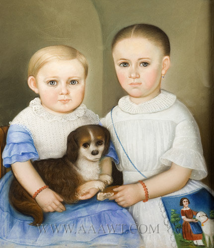 Pastel Portrait, Two Children Posed with Their Dog, a Spaniel  Anonymous  Circa 1835 to 1845, entire view