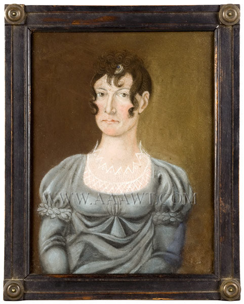 Portrait, Lady in Blue, Pastel Anonymous 1820's, entire view