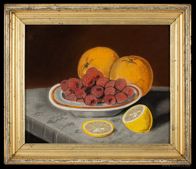 Antique Pastel Still Life of Orangs and Raspberries, Late 19th Century, entire view