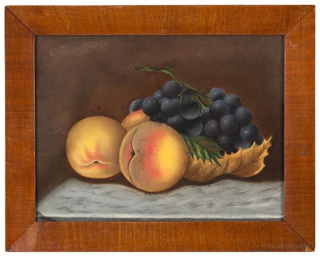 Antique Pastel Still Life with Peaches and Grapes, Late 19th Century, entire view