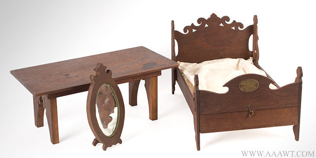 Antique Folding Self Contained Bed, Table and Mirror Patent Model with Embossed Brass Label, January 1865, group view 1