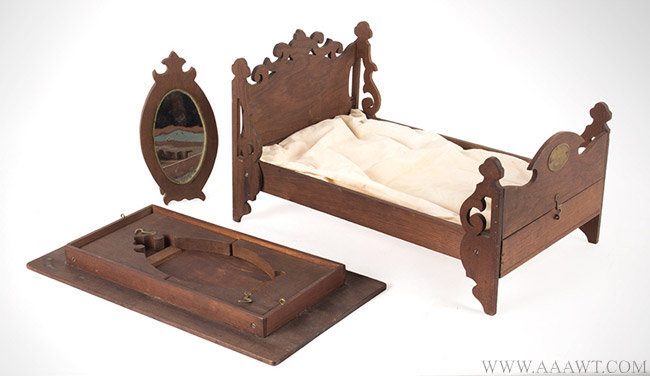 Antique Folding Self Contained Bed, Table and Mirror Patent Model with Embossed Brass Label, January 1865, group view 2