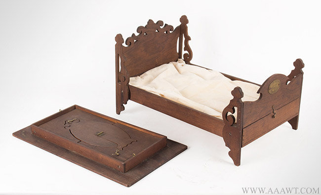 Antique Folding Self Contained Bed, Table and Mirror Patent Model with Embossed Brass Label, January 1865, group view 3