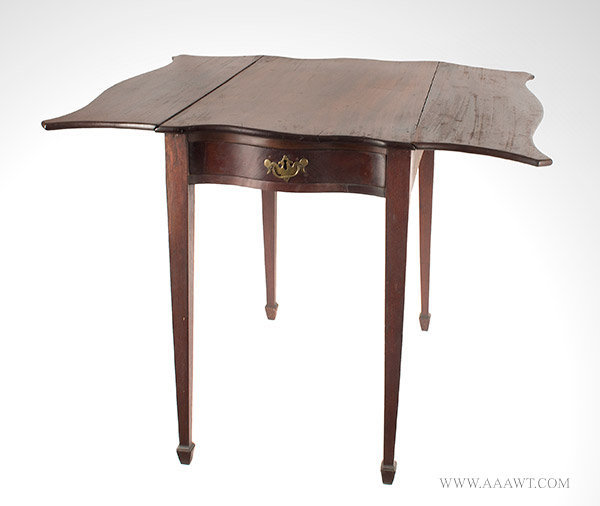 Antique Pembroke Table with Serpentine Top, Circa 1785 to 1800, open view