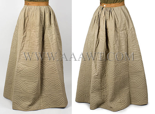 Antique Petticoat, Quilted, Olive Color, Wool, front and back views