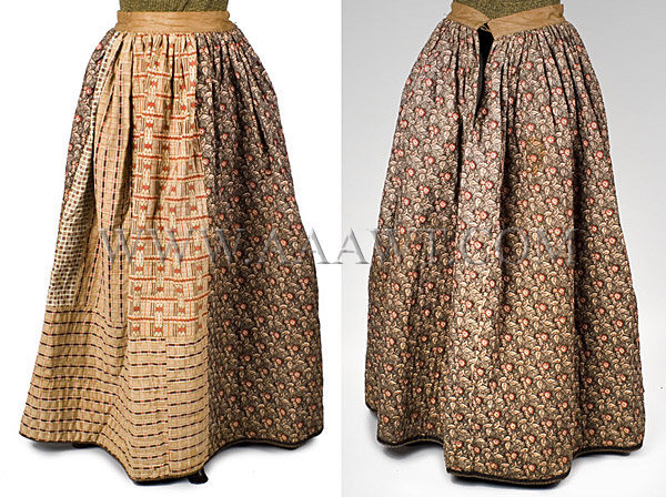 Antique Petticoat, Quilted, Printed Cotton, 19th Century, front and back views