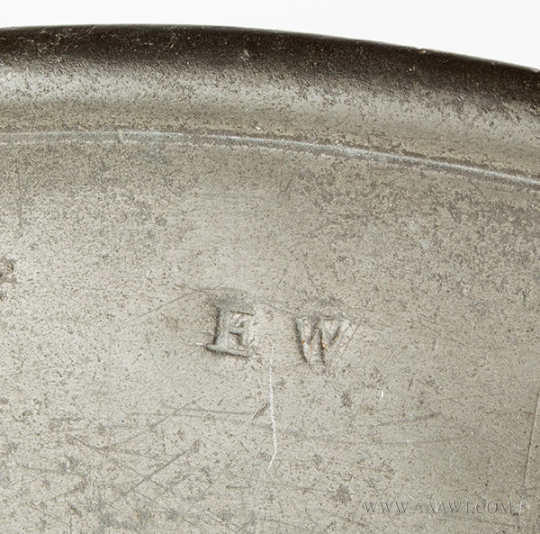 Antique Pewter Charger, Multi Reeded Rim, William Ford, Wigan, 1683 to 1696 mark detail-