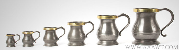 Pewter, Brass Rim Lidless Measures, Baluster, Set of Six, 19th Century, entire view