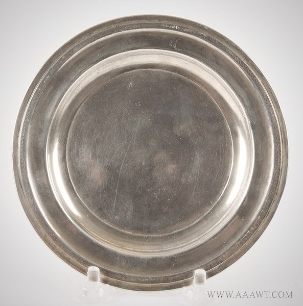 American Pewter Dish or Plate by James Putnam Malden, Massachusetts, Circa 1830 to 1835