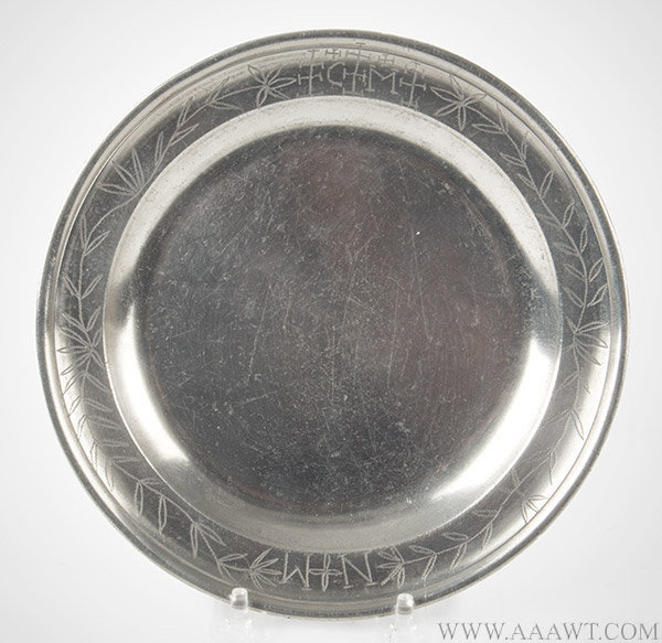 Pewter Plate, Single Reed, Engraved Rim, Burford and Green, London, 1748 to 1780, entire view