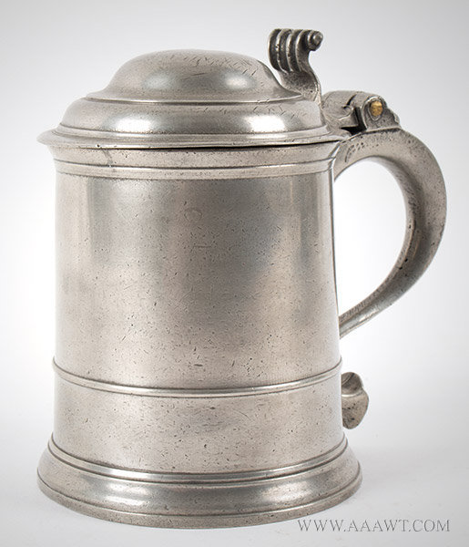 Pewter, Pint Tankard, Dome Lid, Richard King, London, Maker's Mark