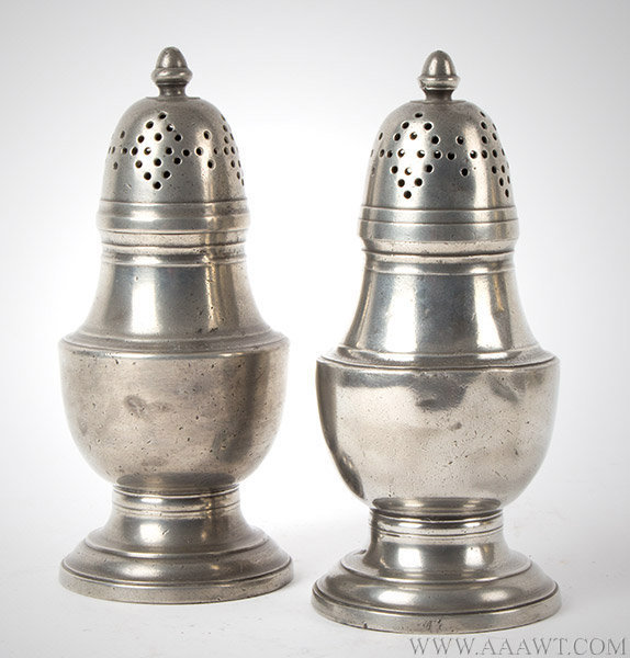 Pewter High Baluster Casters, English, Mid to Late 18th Century, entire view