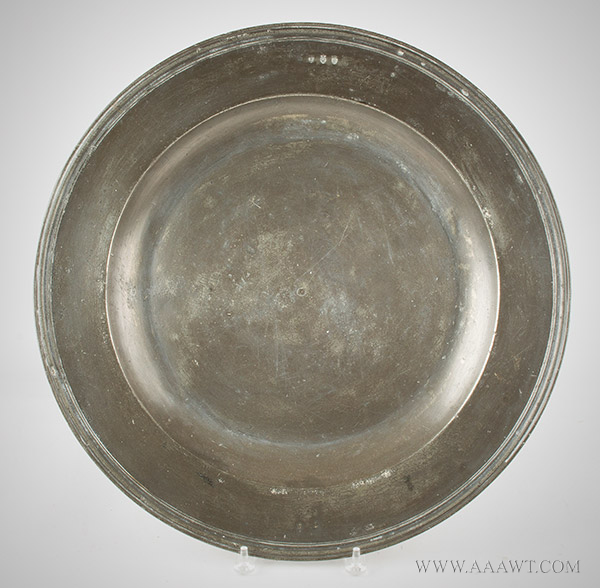 Antique Pewter Charger, Multi Reeded Rim,  Broad Rim, 17th Century